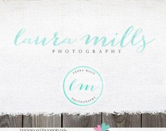 Premade Photography Logo - Gorgeous Watercolor Script Premade Logo for Photographer