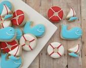 Nautical Cookies - Whale, Life Preserver, Sailboat - Decorated Cookies - 2 Dozen