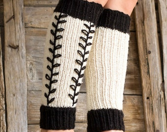 Pure Wool Black and White Leg Warmers with Hand Embroidered Black Leaves, Nature Inspired Hand Knitted Accessories, French Country
