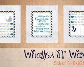 Nautical You Are my Sunshine Whales n' Waves Nursery Art - Set of 3 Prints - Customizable