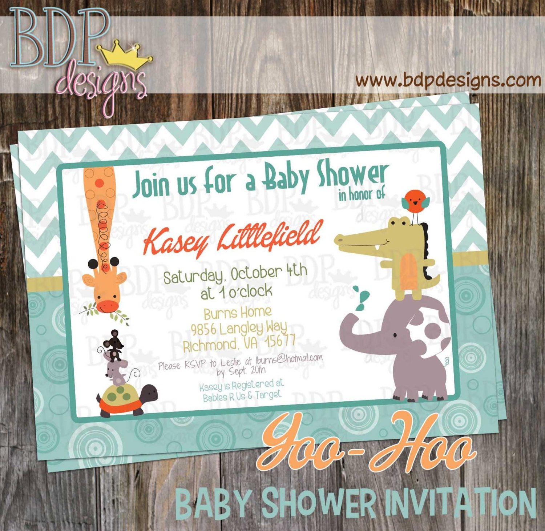 Yoo Hoo Jungle Baby Shower Invitation Customizable Digital