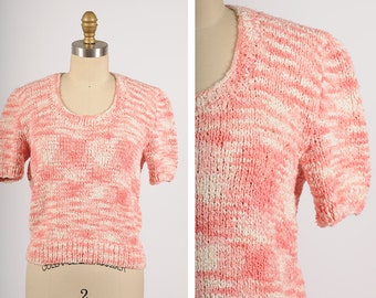 vintage knit blouse/ nubby cotton knit sweater/ small