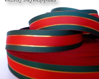 "Gucci Style Ribbon, Red, Hunter Green and Gold Metallic Ribbon,  2 Sided,  ""5 YARDS"",  1 3/8 inches wide, Gucci style, Gift Wrap, Clearance"