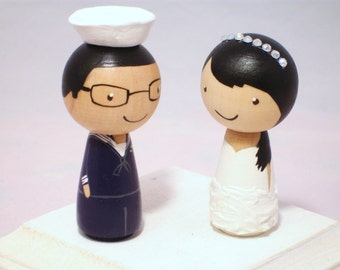 Custom Military Kokeshi Wedding Cake Topper Kokeshi Doll Wedding Toppers Custom Cake Toppers