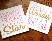 Twinkle Twinkle Little Star Set of 2 Painted Canvases- Pink and Gold Shimmer