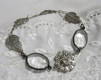Recycled Assemblage Bracelet  Rhinestone Repurposed Jewelry Art Deco Bracelet Wire Wrapped