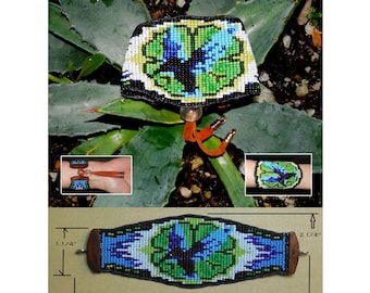 Loom Woven Seed Bead Hummingbird Bracelet No.2