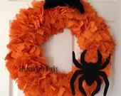 "Clearance! Burlap Halloween Wreath 20"" Spider Ready to ship!"