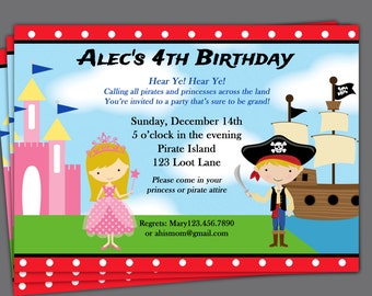 Pirate and Princess Invitation Printable or Printed with FREE SHIPPING - You Pick Hair Color and Skin Tone