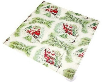 Vintage Wrapping Paper - Winter House - Full Sheet Seasonal Gift Wrap