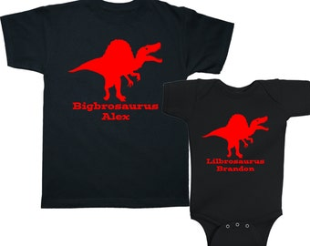 Personalized Big Brother Little Brother Spinosaurus Dinosaur Matching Shirts - any name - pick your colors!
