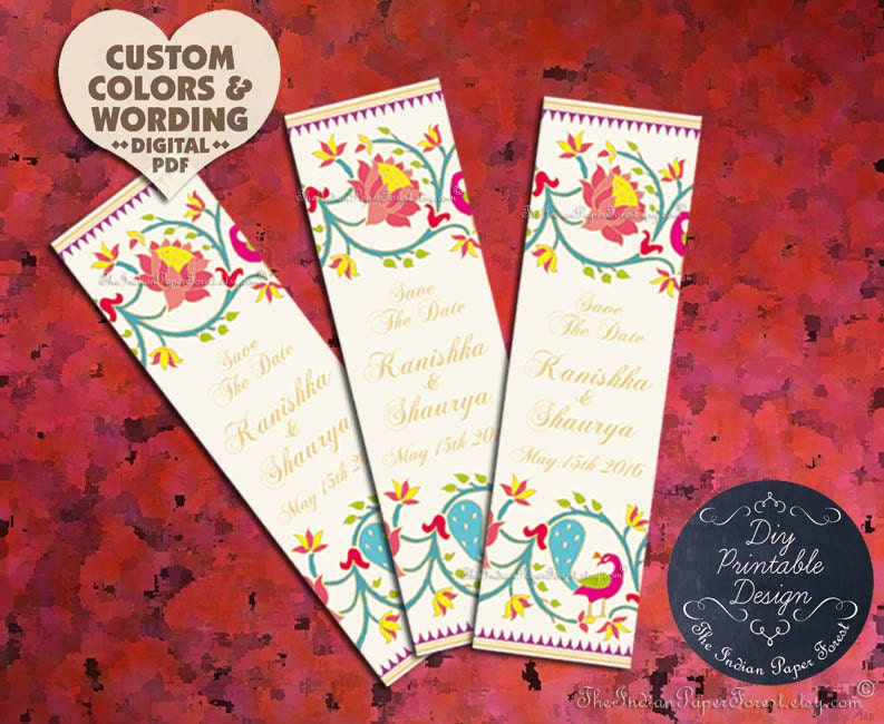 diy printable paithani lotus peacock wedding save the date card
