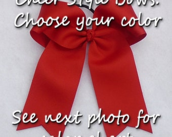 Cheer Style Bows, Hair Bows with Tails for Cheer/Sports/School Spirit, Back to School Bows, Variety of Colors Available, Ponytail Hair Bows