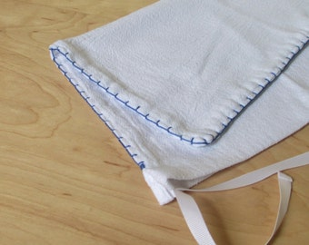 1 Medium Reusable Cloth Produce Bag, Bread Bag, Blue Hand Embroidery, White Ribbon
