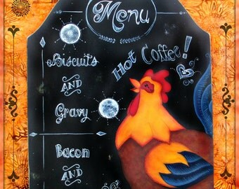 E PATTERN - Breakfast Menu - Chalkboard type Lettering and Rooster ready to start the day! Designed & Painted by Sharon Bond - FAAP