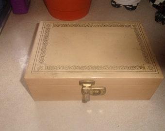 vintage ivory color pink velvet jewelry box mirror