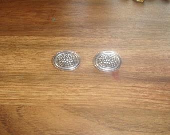 vintage clip on earrings silvertone