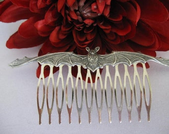 Bat Hair Comb-Antiqued Silver Long Bat on a Silver Comb-Gothic-Steampunk-Halloween