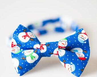 Boy Christmas Bowtie - Blue with Snowmen - Little Boy Bowtie