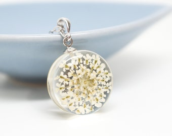 White queen anne's lace flower necklace - clear resin, white gold plated silver chain
