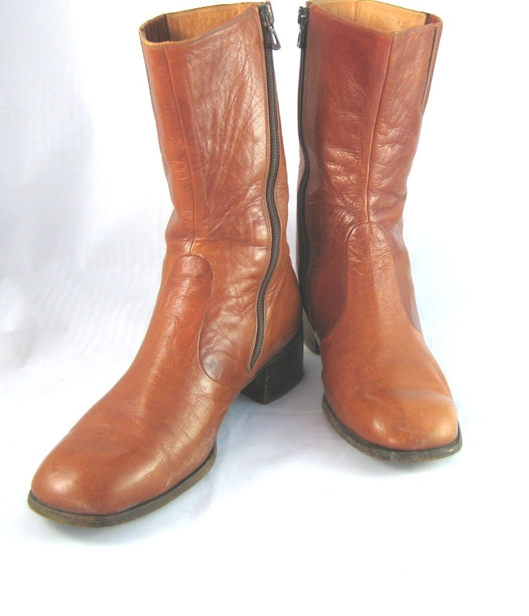 70s boots mens dress boots brown leather boots cognac brown