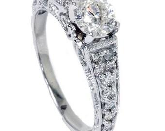 Diamond Engagement Ring 0.60CT Vintage Filigree Diamond Engagement Ring 14K White Gold, Vintage Ring, Diamond Engagement, Anniversary Ring,