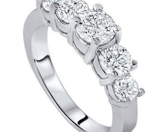 2.00CT Diamond Ring 5-Stone Anniversary Wedding Band 14 Karat White Gold
