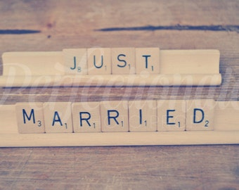 Just Married Sign Just Married Scrabble Sign Newlywed Sign Scrabble Sign Wedding Photo Prop Bride and Groom Prop