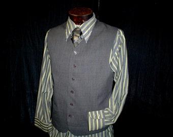 "90s 44"" Short Polyester Men's Vest Waistcoat Dark Gray"