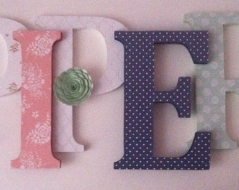 Wooden  letters for nursery in peach, navy and mint green