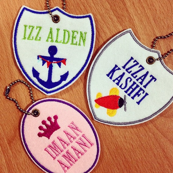 Embroidered personalized bag tag by katrinagumal on etsy for Embroidered tags personalized