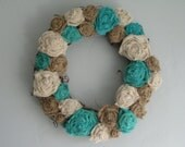 "Grapevine Burlap Wreath - 14"" - natural, ivory, and turquoise"