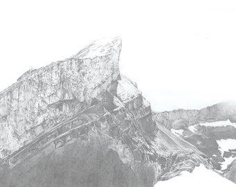 MOUNTAIN Print - A3 Size (Landscape) (Art. Print. Nature. Naturalist. Mountain. Illustration)