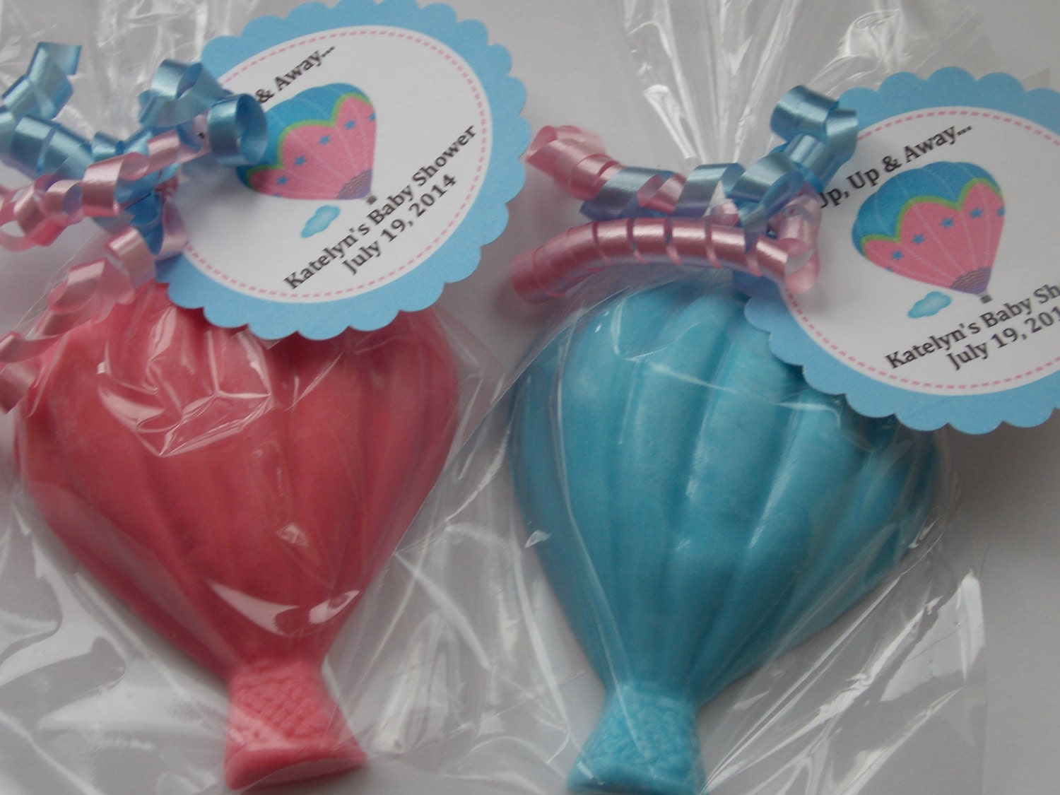 Baby Shower Favors Hot Air Balloons ~ Hot air balloon soap favors with tags ribbons travel