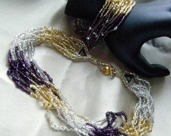 Twelve Strand Beaded Necklace and Bracelet Set