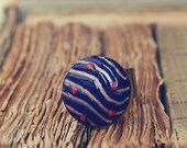 French antique 19th Century gold, blue & red polka dot enamel button, vintage, silver adjustable base