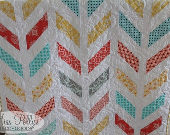 Baby Crib Bedding- Design Your Own Baby and Toddler Herringbone Quilt in Fabrics You Choose