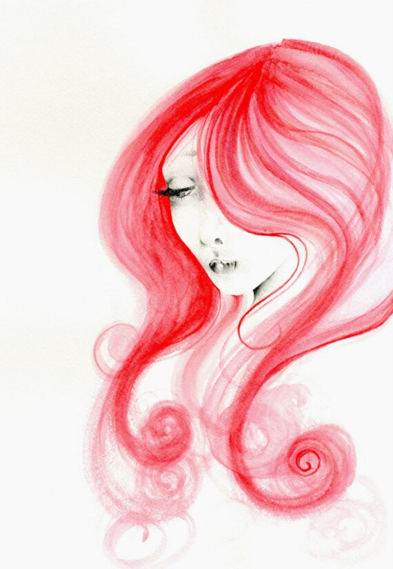 Red Watercolor Painting of a Girl Fashion Illustration Redhead Art Print Gift for Her Giclee Art Print Gift for Her Gift for Wife Picture