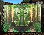 7x5 Art Journal_Mirror 963_signed 140 page spiral blank notebook_forest abstract mystery tree_Oregon art Loree Harrell, The Mirror Project