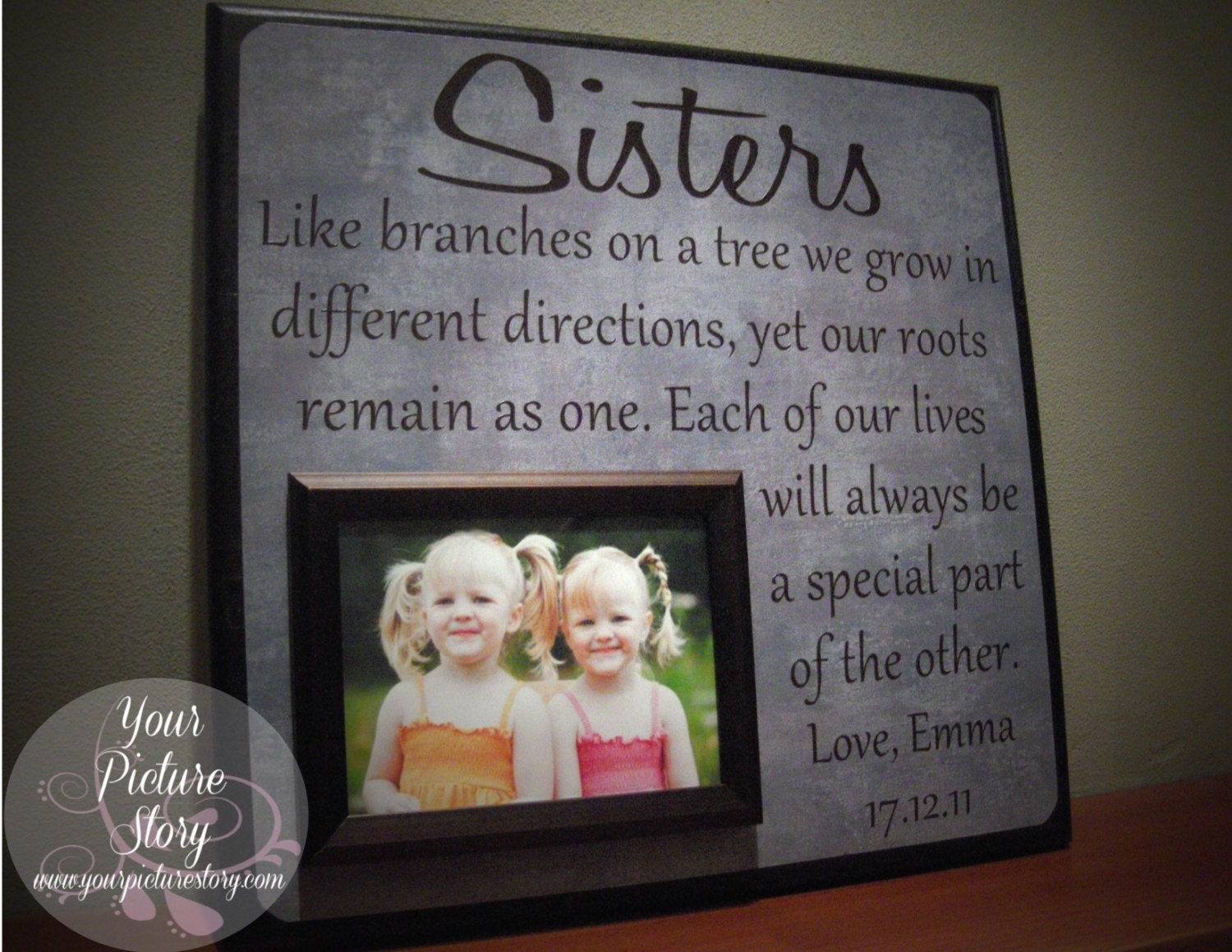 Wedding Gift For Sister Of The Bride : SISTERS Picture Frame Wedding Gift Like by YourPictureStory