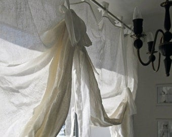 Window curtain White linen drapes Tie up curtain by Lovely Home Idea