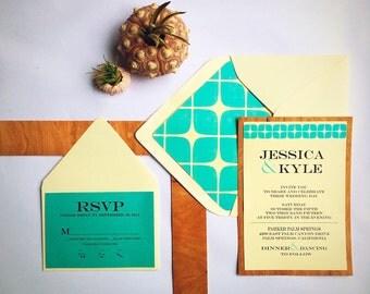 NEW! Mid Century Modern Wedding Invitation With Wood Details
