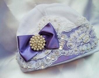 Newborn Girl Baby Hospital Hat Purple Beaded Lace