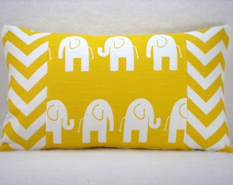 Yellow and White Elephant with Yellow and White Chevron Lumbar Pillow 12x20 Pillow Cover