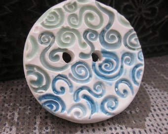 Large Blue Green Spiral Texture Button