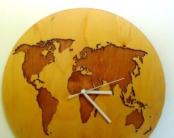 """World map, WALL CLOCK 15.7""""Diameter, Modern, Laser Cut, Big wall clocks, Wooden wall clock,Large wall clock,Decorative wall clocks, Wooden"""