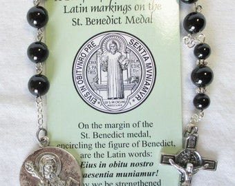 Handmade Catholic Tenner Single Decade Rosary, St Benedict, Black Onyx Gemstone Beads, Large Round St Benedict Medal