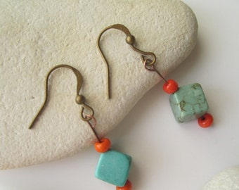 Colorful earrings . Turquoise Howlite Earrings . Cube Earrings . Orange and Turquoise Earrings ./. Pendants d'Oreilles ./. Small Earrings