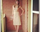 1950s Wiggle Dress - 50s Dress - Sandy Beige Eyelet Lace <temp price cut>