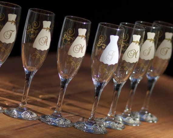 Wedding Gift Champagne Glasses : Bridesmaid gift champagne flutes, monogram wedding glasses in ivory ...